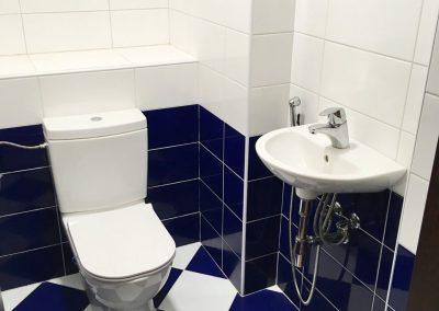 modrobílá toaleta