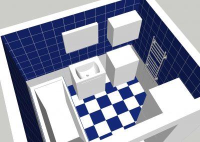 návrh modrobílé koupelny