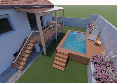 vizualizace balkonu a bazenu