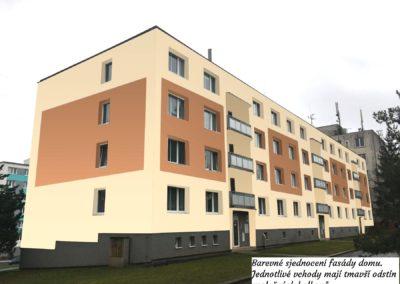 Geometrické tvary na fasádě bytového domu